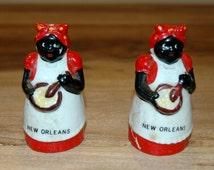 Vintage Mammy Salt Pepper Shakers / Vintage Black Memorabilia / Vintage Aunt Jemima New Orleans Salt Pepper Shakers Black Americana Souvenir