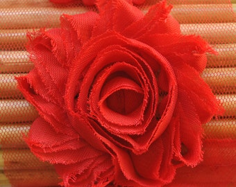 "Rich Red shabby flower trim - 2.5"" inch - frayed chiffon - rose flowers by the yard - CF Red"