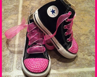 Pink Pearl Bling Converse