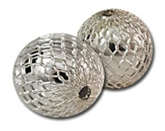 Silver Mesh Round Beads 12mm- 12 beads from 1970's