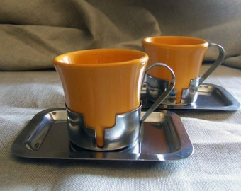 Intense yellow ceramic and inox steel Coffee cups
