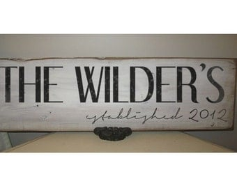 Personalized Family Name Sign on reclaimed wood Anniversary Gift, Wedding Gift, Bridal shower Gift 7x24