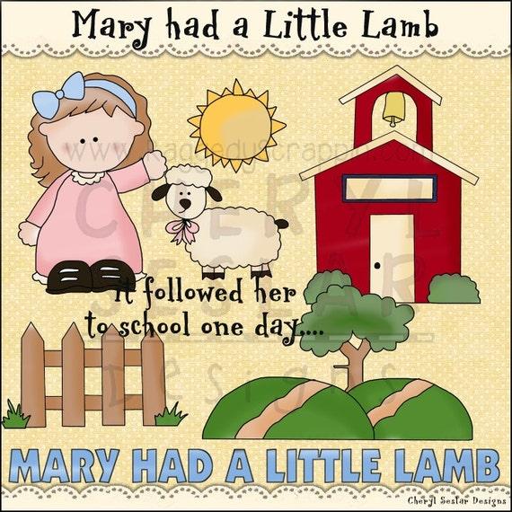 Mary Had a Little Lamb Clip Art Set by StudioRockCreek on Etsy