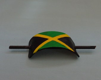 Leather Hair Slide hand tooled by Artrix Leather and Fine Art- Jamaican Flag