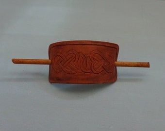 Leather Hair Slide hand tooled by Artrix Leather and Fine Art- Hearts Celtic Knot