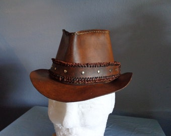 Leather Fedora Hat with Double Loop Lace and Silver Riveted Leather Hatband by Artrix Leather and Fine Art