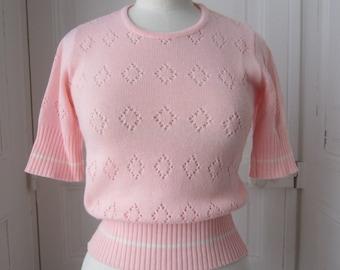 Pullover retro knit openwork lozenges