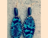 Teal unique handmade oval shaped beaded african print dangler earrings