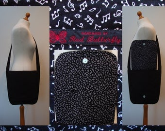 Black Musical Notes Messenger Bag