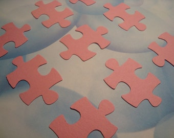 100 pink puzzle piece paper confetti sprinkles for for Decoration or embellishment crossword