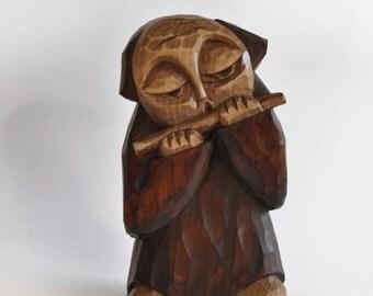 FLAUTIST handcrafted wooden sculpture