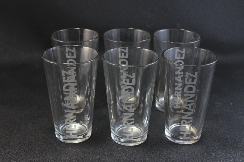 engraved 16 oz personalized drinking glasses bar beer drink. Black Bedroom Furniture Sets. Home Design Ideas