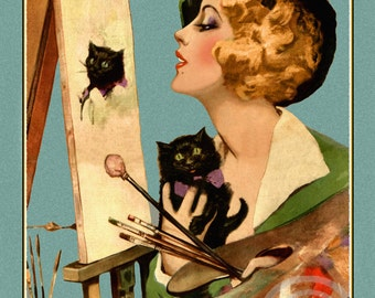 Art Deco Artist Girl, Painting a Portrait, of her Black Cat on Canvas, Cat Art, by Henry Clive, 1932, Blond beauty, Giclee Art Print 11x14