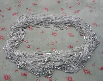30pcs--1.0mm width--17 inches Shiny Silver Metal Link Necklace Chain--MN3104-30