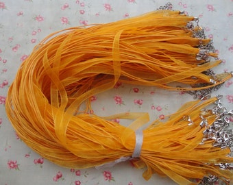 """set of 30--17""""-19"""" orange yellow color ribbon cord necklace with lobster clasp--ribbon necklace cord--MN3112-30"""