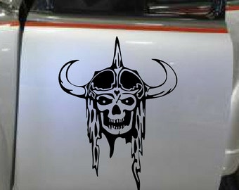 Viking Skull Devil Demon Decal sticker wall art car graphics room decor zombie emo goth gothic metal AA37.22