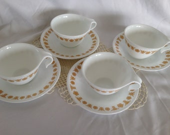 Vintage Butterfly Gold Corelle Hook Handled Cups and Saucers Set of 4