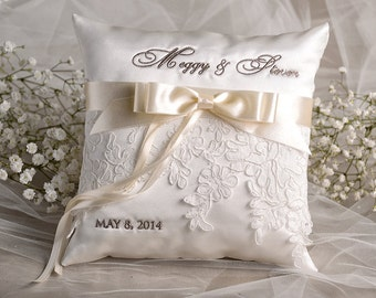 Lace Wedding Pillow,  Ring Bearer Pillow Embroidery Names Custom Colors