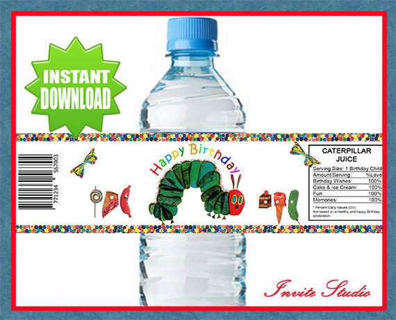 Very Hungry Caterpillar Water Bottle Labels By