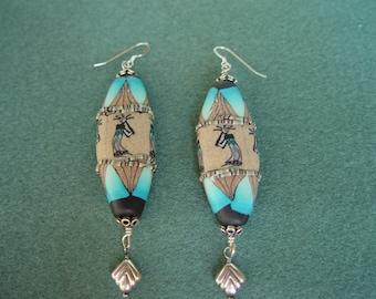 Southwestern fimo dough sterling silver long drop hook earrings