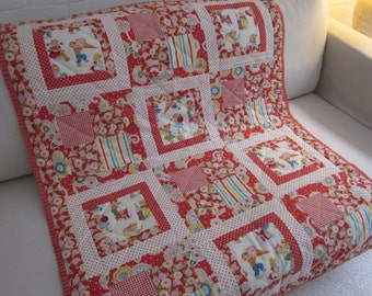 Handmade patchwork  cot quilt & cushion cover