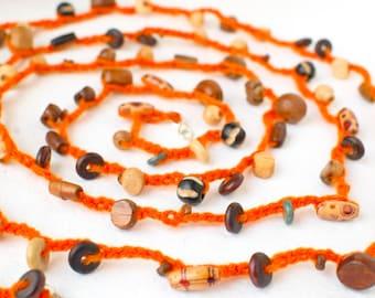 Spring  Summer   Orange Crochet Lariat Necklace Wrap Bracelet Belt Headband - Wood