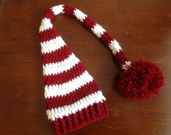 Crochet Christmas Elf Hat, Santa Hat, Winter Hat, Striped Hat Newborn Baby Elf Hat Baby Christmas Hat Christmas Photo Prop