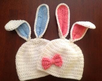 Crochet Bunny Hat Easter Bunny Hat Crochet Hat Baby Girl Baby Boy Bunny Beanie White Bunny