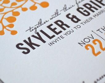 Fall in Love Letterpress Wedding Invitation Suite