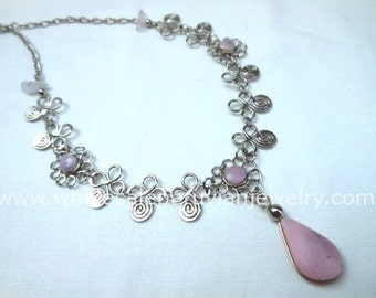 Pink Rose Quartz Teardrop Alpaca Silver Flowers Inca Necklace Peruvian Jewelry Art - Handmade in Peru