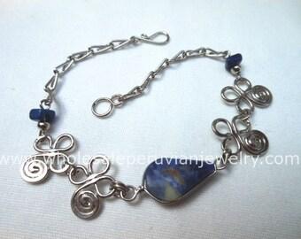 Blue Sodalite Teardrop Alpaca Silver Inca Bracelet Peruvian Jewelry - Handmade in Peru