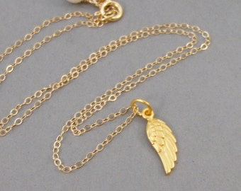 Golden Angel Wing,Necklace,Wing Necklace,Angel,Gold Wing,Gold Filled,Angel Wing Necklace,Handmade SeaMaidenJewelry
