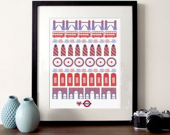 London Illustration, I Love London, London poster, red telephone box, London print, London city, Tower bridge print, London landmarks, bus