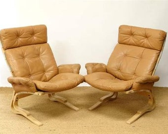 Scandanavian Pair of Lounge Chairs by Rykken for Westnofa Norway