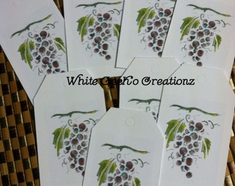 Gift Tag, grapes set of 8, blank on the back.