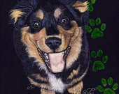 English Shepherd Puppy scratchart print -Dandy