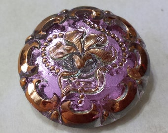 Handmade Vintage Style Czech Glass Button in Lilac
