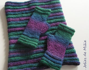 blue purple green cowl and fingerless mitts, handspun and handdyed wool