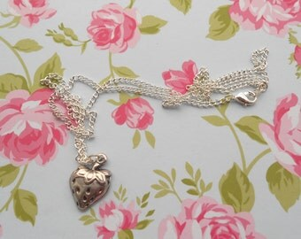 Strawberry Antique Silver Plated Charm Necklace