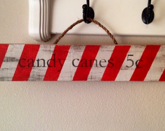 Striped Candy Cane Christmas Sign