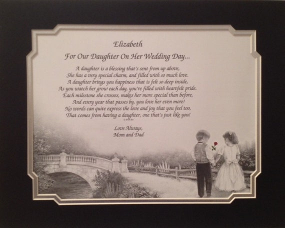 Wedding Gift To Daughter From Dad : Personalized Wedding Gift To Our Daughter From Mom and Dad Gift Idea