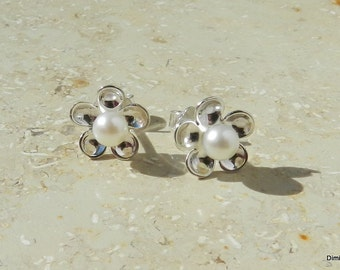 Studs with sweet water  pearls