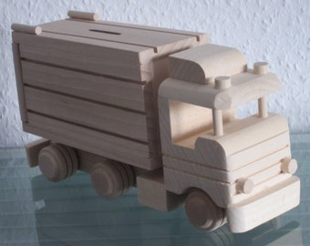 Truck Truck Money Box timber truck lorry car very rare handmade XXL