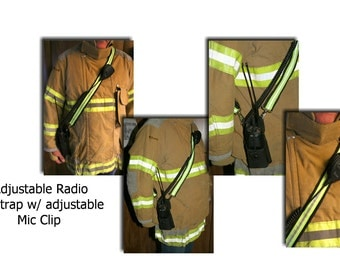 Firefighter Radio Strap, Reflective, Adjustable, From Turnout Gear or Bunker gear  (Radio case not included)