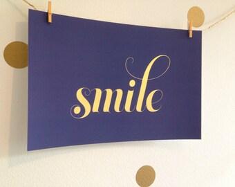 Navy Smile Gold Foil Print  -  Nursery Art Print - Childrens Art Print
