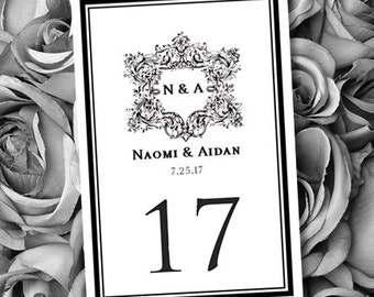 Printable Wedding Table Numbers Vienna Black White