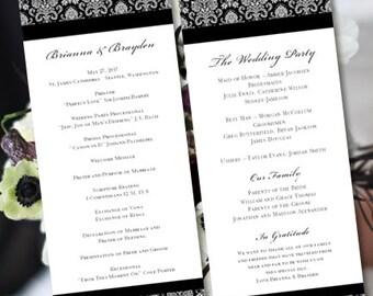 Wedding Program Template Black White Victorian Damask