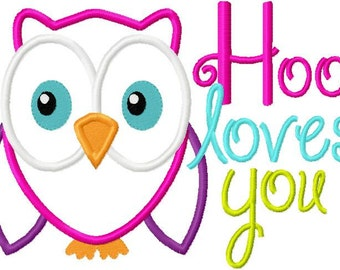Valentine's Day Embroidery Applique Design Hoo Loves You with heart and Owl Digital Instant Download  5x7 and 6x10