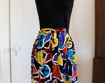 1980's La Chine Classic By Galinda Wang Bold Print Sea Life Skirt / Size Small***50% OFF!