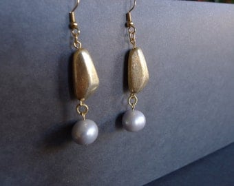 Large cultured pearl gold dangle earrings/ Pearl Gold vermeil dangles